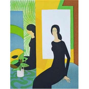 ANDRE MINAUX - 'Jeux de miroir' - rare limited edition vintage lithograph - c1974 (edition of 25. Picasso Int) (H30.7 x W23.4cm)
