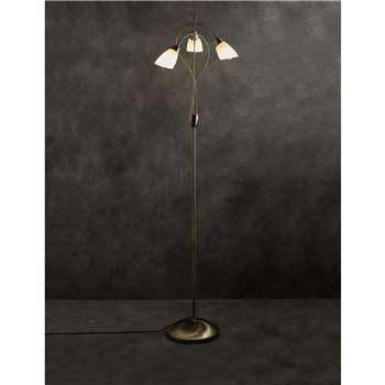 Andrea 3 Light Floor Lamp, Antique Brass (163 x 38cm)