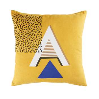 ANDREA Mustard Yellow Cotton Cushion with Graphic Motifs (H45 x W45cm)
