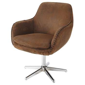 ANDREWS Microsuede office chair in brown (85 x 67cm)