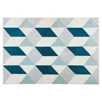 ANDY fabric rug with graphic blue and grey motifs (140 x 200cm)