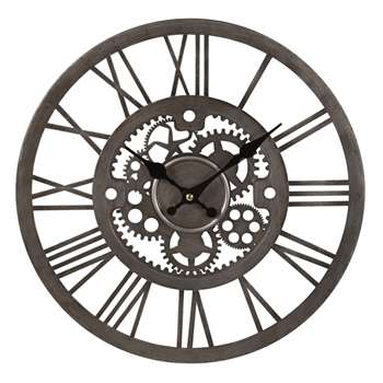 ANDY Silver Metal Cog Clock (35 x 35cm)