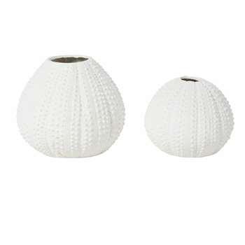 ANEMONE - 2 White Vases (H20 x W24 x D24cm)