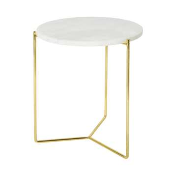 Angela - Marble and Gold Metal Side Table (Height 46.5cm)