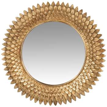 ANGELINA - Gold resin aged-effect mirror (Diameter 24cm)