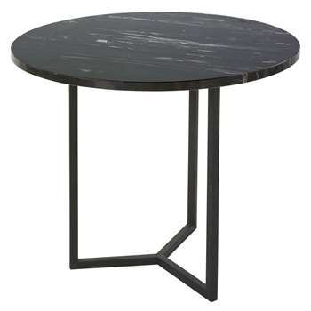 ANGELO Marble and Black Metal End Table (H56.5 x W50 x D50cm)