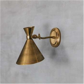 Angled Antiqued Brass Wall Light (Height 24cm)