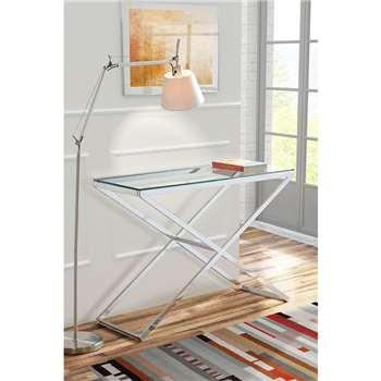Anikka Chrome and Glass Console - Hallway Table (80 x 114cm)