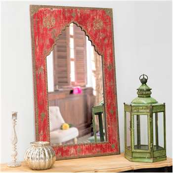 ANISH carved wood mirror in red H 110cm