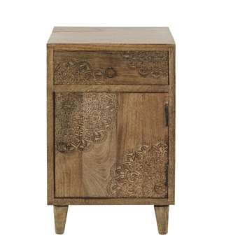 Anja Carved Solid Mango Wood 1-Door 1-Drawer Bedside Table (H59 x W38 x D36cm)