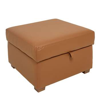 Ankara faux leather footstool with storage tan (45 x 70cm)