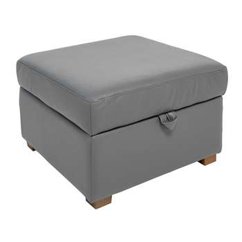 Ankara leather footstool with storage grey (45 x 70cm)