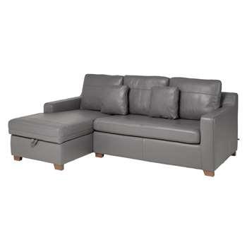 Ankara leather left hand corner sofa bed with storage grey (75 x 228cm)