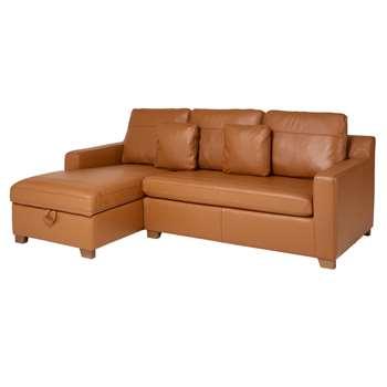 Ankara leather left hand corner sofa bed with storage tan (75 x 228cm)