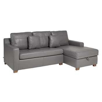 Ankara leather right hand corner sofa bed with storage grey (75 x 228cm)