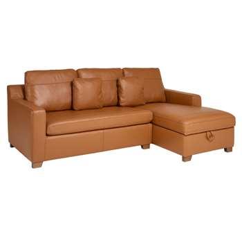 Ankara leather right hand corner sofa bed with storage tan (75 x 228cm)