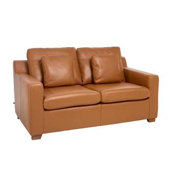 Ankara leather two seater sofa bed natural tan (75 x 160cm)