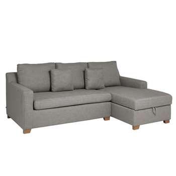 Ankara right hand corner sofa bed with storage light grey (75 x 228cm)