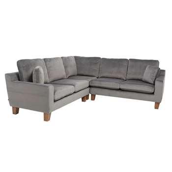 Ankara symmetrical corner sofa grey velvet (72 x 244cm)