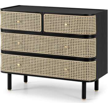 Ankhara Chest of Drawers, Rattan & Black Stain Oak (H84 x W100 x D46cm)