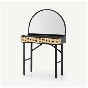 Ankhara Dressing Table, Rattan & Black Stain Oak (H125 x W80 x D46cm)