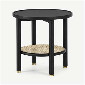 Ankhara Side Table, Black Stained Oak & Cane (H49 x W50 x D50cm)