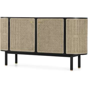 Ankhara Sideboard, Black Stained Oak & Cane (H77 x W145 x D43cm)