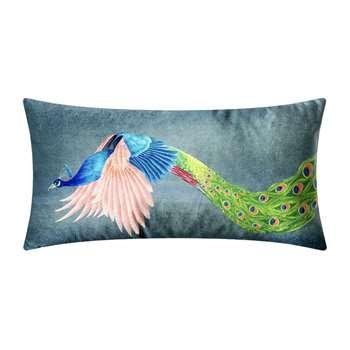 Anna Jacobs - Flying Peacock Velvet Bolster Cushion (H27 x W57cm)