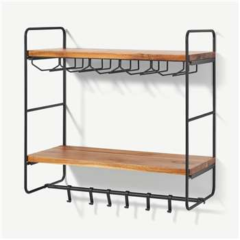 Annalie 2-Tier Interchangeable Wall-Mounted Storage Unit with Rubber Wood Shelves, Black (H51 x W51 x D26cm)