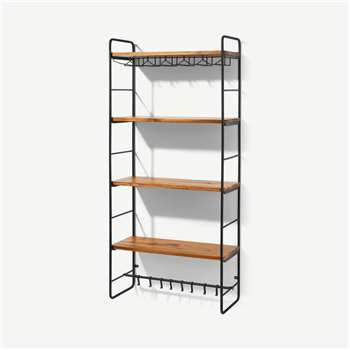 Annalie 4-Tier Interchangeable Wall-Mounted Storage Unit with Acacia Wood Shelves, Black (H132 x W61 x D26cm)
