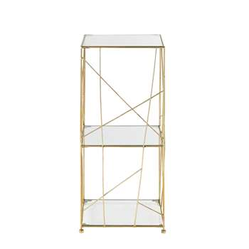 ANNIE Gold Metal and Glass Shelving Unit (70 x 30cm)