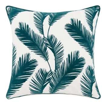 ANONA White Cotton Cushion Cover with Green Foliage Print (H40 x W40cm)