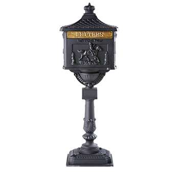 ANTAN Anthracite Grey Cast Iron Outdoor Decorative Letter Box