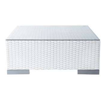ANTIBES Tempered glass and wicker garden coffee table in white (30 x 77cm)