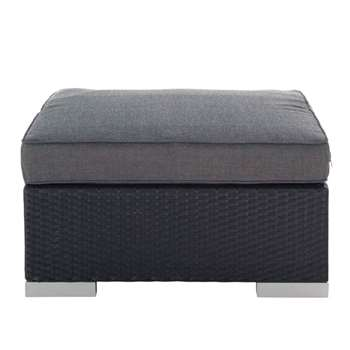 ANTIBES Wicker garden pouffe in black (30 x 77cm)