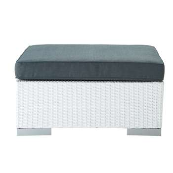 ANTIBES Wicker garden pouffe in white (30 x 77cm)
