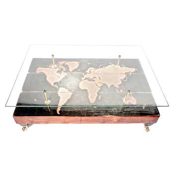 Cappa E Spada - Antique Styled Distressed World Map Coffee Table With Glass Top (H38.1 x W114.3 x D71.1cm)