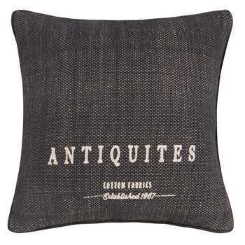 ANTIQUITES Grey Printed Cotton Reversible Cushion Cover (50 x 50cm)