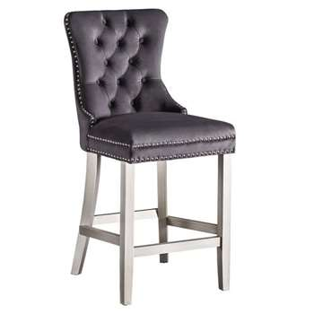 Antoinette Bar stool Smoke Grey- Pewter Legs (H94 x W49 x D51cm)