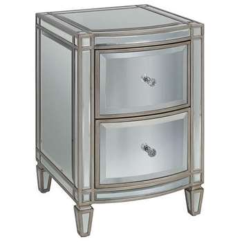 Antoinette Toughened Mirror Bedside Table (H62 x W40 x D43cm)
