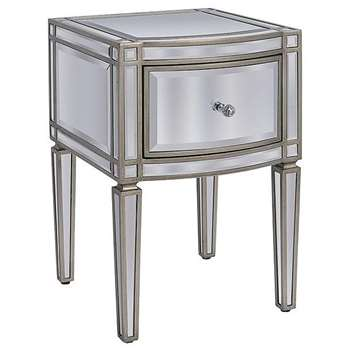 Antoinette Toughened Mirror One Drawer Bedside Table (H63 x W40 x D43cm)