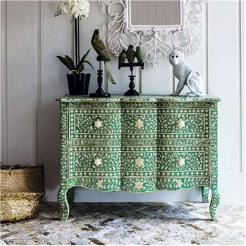 Antonia Bone Inlay Chest of Drawers in Emerald (76 x 105cm)