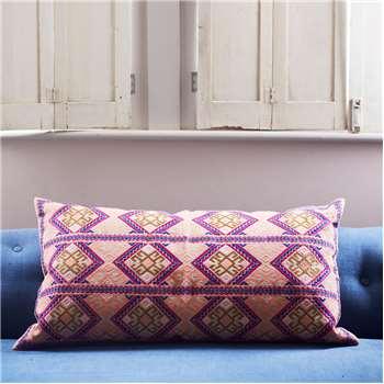 Anya Blue And Purple Mayan Print Rectangular Cushion (45 x 80cm)