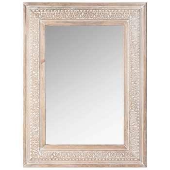 AONI Carved Mango Wood Mirror (H80 x W60cm)