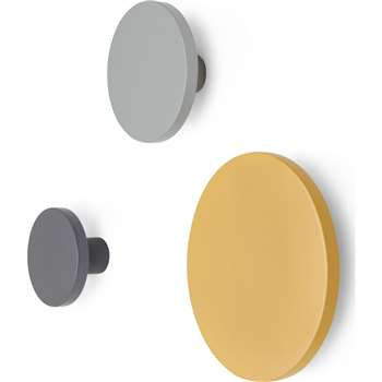 Apartment Set of 3 Wall Hooks, Grey and Mustard Yellow (H10 x W10cm)