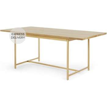 Aphra 6 Seat Dining table, Light Mango Wood and Brass (H75 x W180 x D90cm)