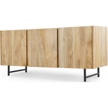 Aphra Sideboard, Light Mango Wood and Black (H65 x W143 x D45cm)