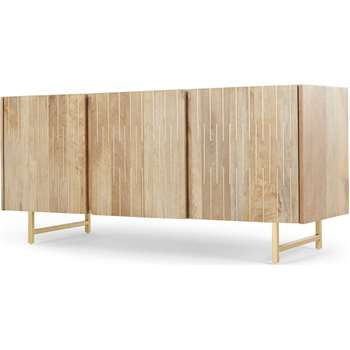 Aphra Sideboard, Light Mango Wood and Brass Inlay (H70 x W143 x D45cm)