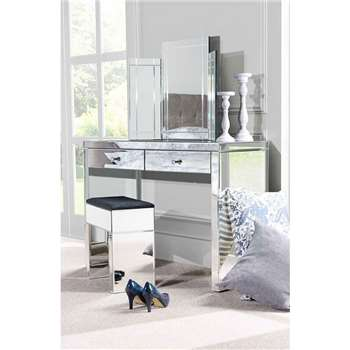 APHRODITE Mirrored Dressing Table, COLLETA Triple Folding Mirror & Mirrored Stool