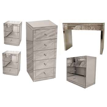 APHRODITE Mirrored Dressing Table, Pair of LUCIA Mirrored Bedside Tables, JULIANNA Mirrored Tallboy & FLAVIA Mirrored Low Chest